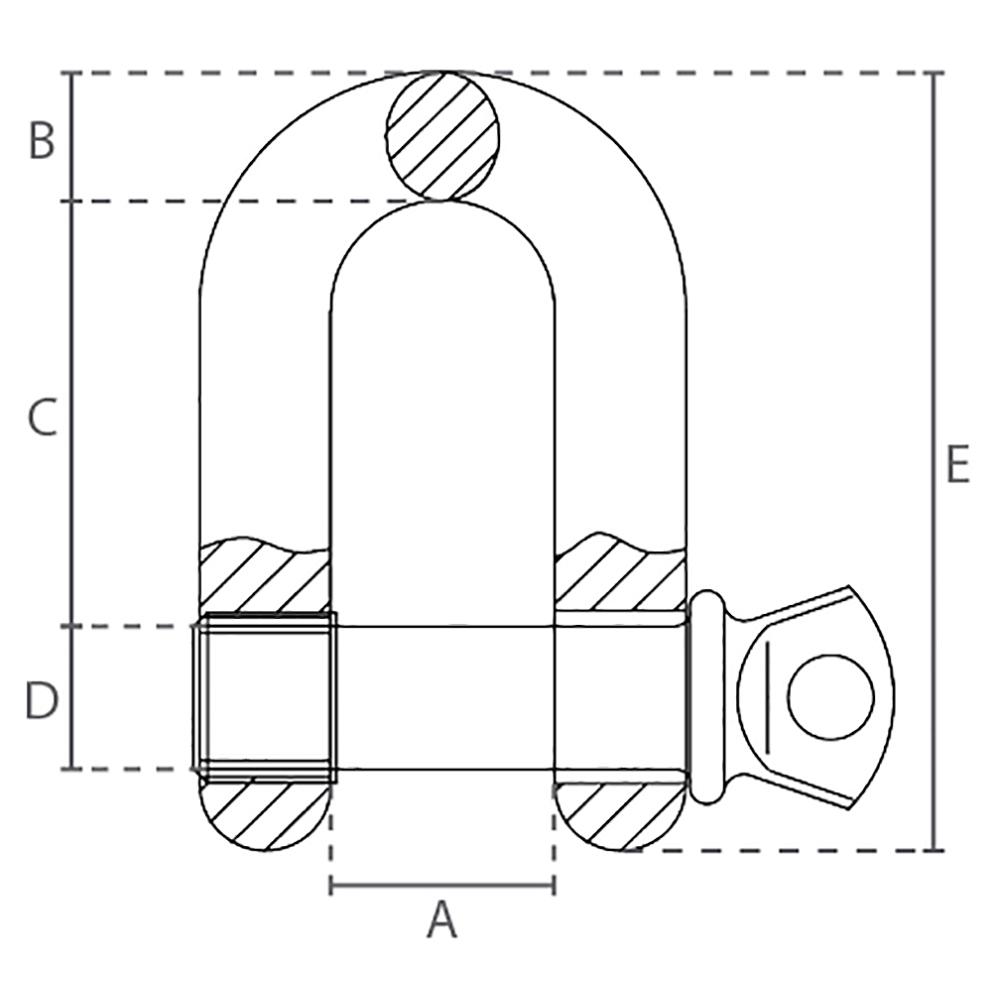 Technische zeichnung Schäkel Gerade