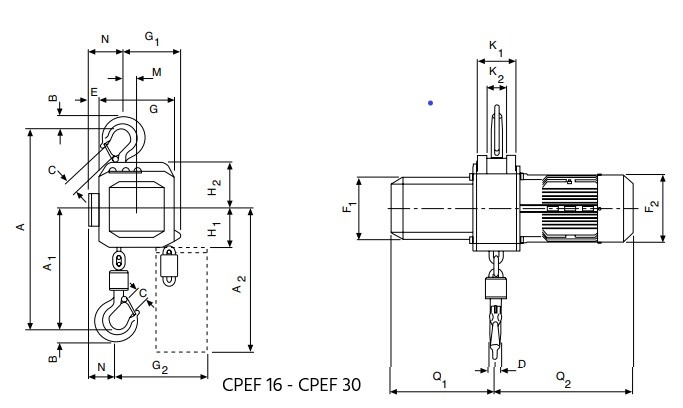 YC technische Zeichnung